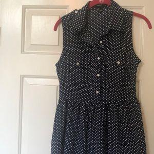 Button up sleeveless polka dot dress